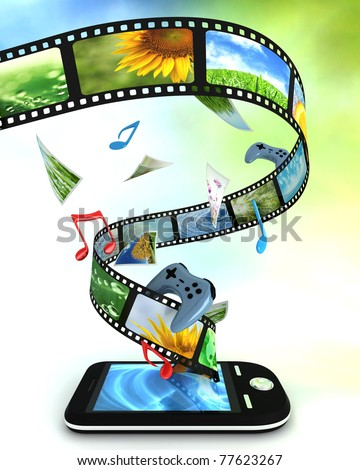 Smart phone with photos, video, music, and games - stock photo