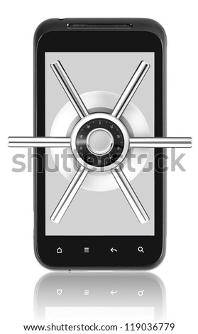 Smart phone with security lock. Isolated on white with clipping path.