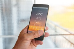 Smart phone with weather forecast on screen