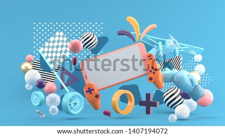 Smart phones and devices, playing games around the wheels, boxing gloves And aircraft On a blue background.-3d rendering.