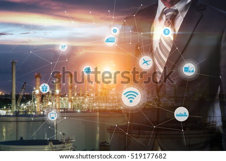 Smart refinery factory and wireless communication network, oil and gas industry petrochemical plant, Internet of Things concept