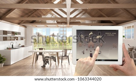 Smart remote home control system on a digital tablet. Device with app icons. Interior of modern kitchen and living room in the background, architecture design, 3d illustration