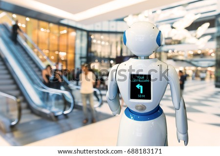 Smart retail , robot assistant , robo advisor navigation robot technology in department store. Robot walk lead to guide customer to destination target.