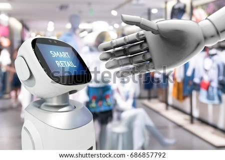 Smart retail sales and crm robot assistant or adviser technology concept. 3D rendering robot hand show robo-advisor display text on screen with blur shopping fashion mall background.
