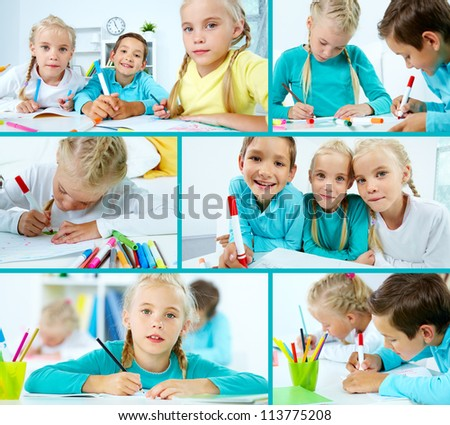 Smart schoolboy and twin girls drawing