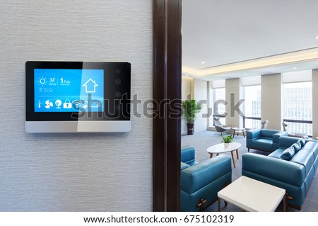 smart screen with smart home apps on wall in modern living room