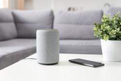 Smart speaker device in living room. Intelligent assistant in smart home system.
