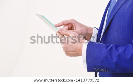 Smart system control. Digital technology. Wireless technology. Get access network. Future technology virtual surface. Business and technologies concept. Tablet portable computer in hands of manager. #1410799592