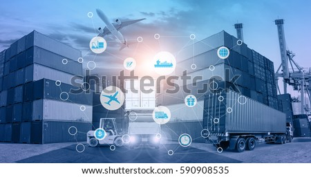 Smart technology concept with global logistics partnership and transportation of Container Cargo ship and Cargo plane for Concept of fast or instant shipping, Online goods orders worldwide #590908535