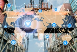 Smart technology concept with global logistics partnership for Logistics Import Export background.