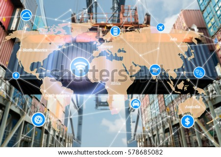 Smart technology concept with global logistics partnership for Logistics Import Export background. #578685082