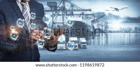 Smart technology concept with global logistics partnership Industrial Container Cargo freight ship, internet of things Concept of fast or instant shipping, Online goods orders worldwide #1198619872