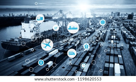Smart technology concept with global logistics partnership Industrial Container Cargo freight ship, internet of things Concept of fast or instant shipping, Online goods orders worldwide #1198620553