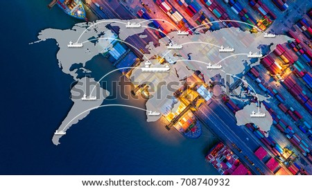 Smart technology concept with global logistics partnership Industrial Container Cargo freight ship, internet of things Concept of fast or instant shipping, Online goods orders worldwide #708740932