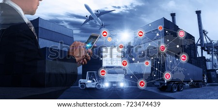 Smart technology concept with global logistics partnership Industrial Container Cargo freight ship, internet of things Concept of fast or instant shipping, Online goods orders worldwide #723474439
