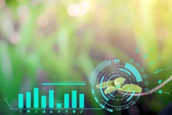 Smart technology with Internet of things futuristic agriculture concept. Analysis report with one finger click on digital screen. free space for text.  Blurred gentle artistic nature  background