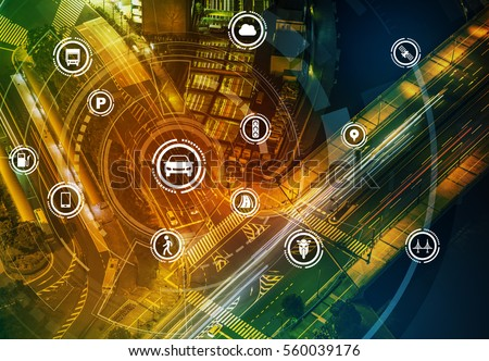 Smart transportation technology concept, smart city, Internet of things, vehicle to vehicle, vehicle to infrastructure, vehicle to pedestrian, abstract image visual #560039176
