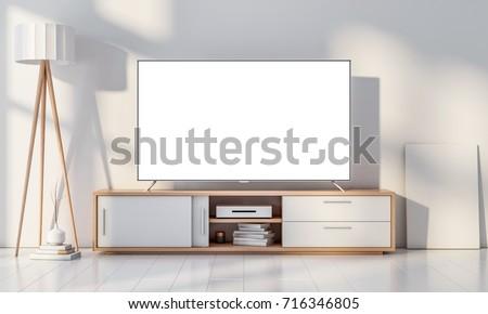Smart Tv Mockup on console in white modern living room. 3d rendering