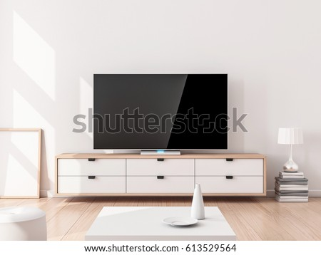 Smart Tv Mockup on stand, living room. 3d rendering