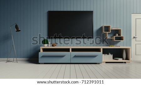 Smart TV on the blue wall in modern living room,3d rendering