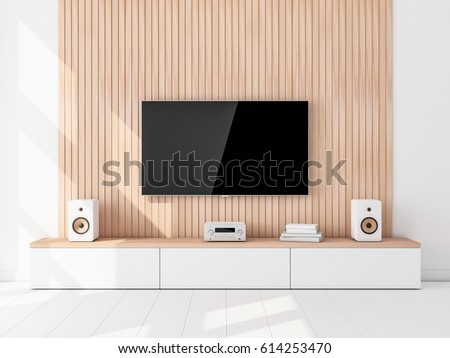 Smart Tv Set Mockup hanging on the wooden wall, hi fi stereo system in living room. 3d rendering
