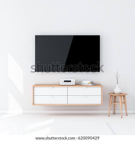 Smart Tv Set Mockup with black screen hanging on the wall in modern interior. 3d rendering