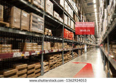 Smart warehouse use augmented reality mixed virtual reality technology ,AR glasses navigation application to pickup the order real time insights into shelf status from artificial intelligence(ai). #1362924053
