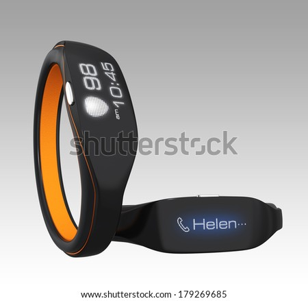 Smart wristbands on gradient background
