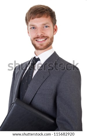 Smart young businessman with leather map