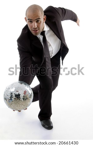 smart young executive tumbling disco ball with white background