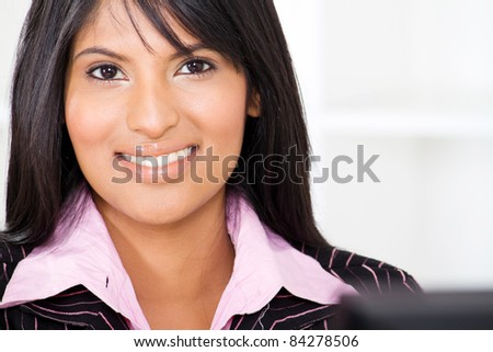 smart young latin american businesswoman closeup portrait