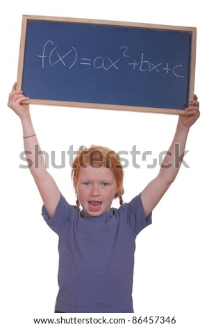 Smart young math student showing a quadratic equation