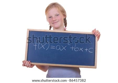 Smart young math student showing a quadratic equation