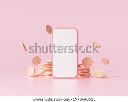 Smartphone and coin stacks with falling coin on pink background, business investment profit, money saving concept. 3d render illustration. Stock photo ©