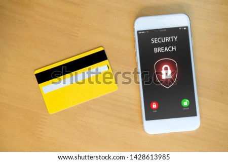 smartphone and credit card with padlock icon #1428613985