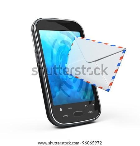 Smartphone and envelope - sms and e-mail concept