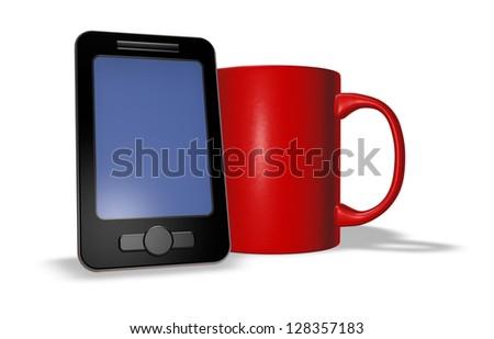 smartphone and mug on white background - 3d illustration
