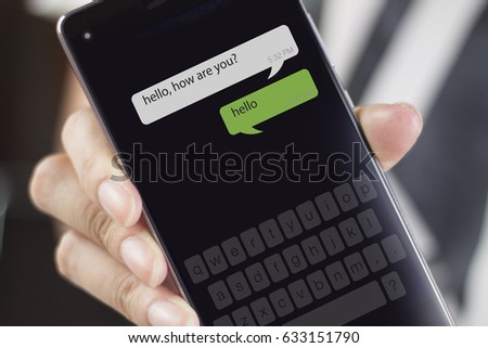 Smartphone and new message icons. A message is a short communication sent from one person to another or the central theme or idea of a communication. #633151790