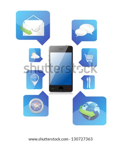 Smartphone application icons illustration design over a white background