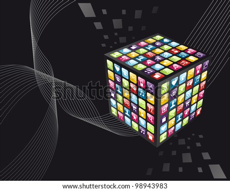 Smartphone application icons in cube shape on black background.