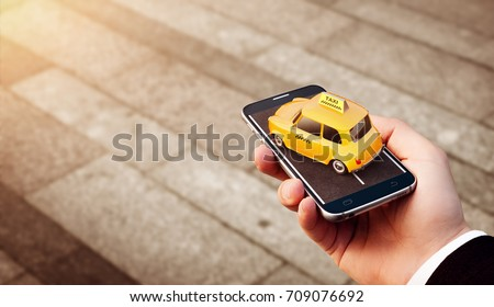 Smartphone application of taxi service for online searching calling and booking a cab. Unusual 3D illustration of taxi cab on smart phone in hand. Taxi concept