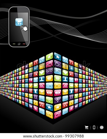 Smartphone application wall icons on black background.