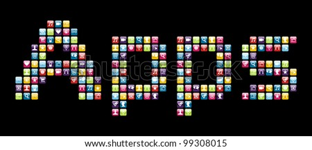 Smartphone applications icon set in Apps word shape.