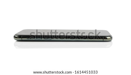 smartphone at the side of isolated on white