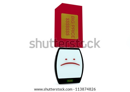Smartphone character is afflicted with big sim cards and mark BIG PRICE on white background