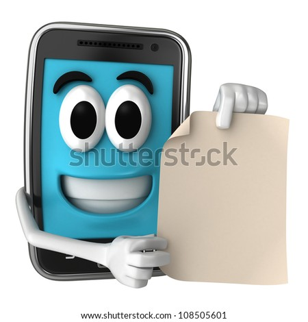 Smartphone character showing a piece of paper