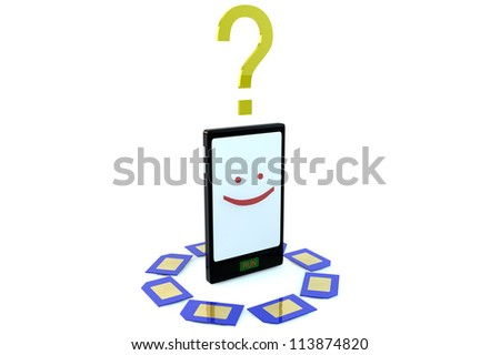 Smartphone character smiling with question mark and different blue sim cards on white background - stock photo