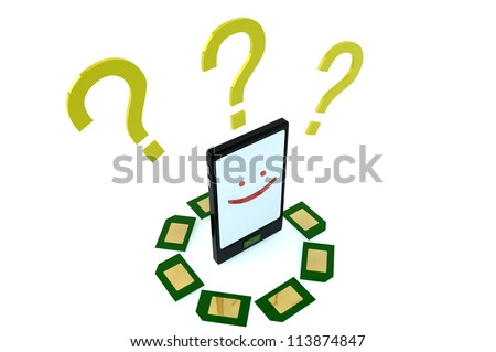 Smartphone character smiling with question marks and different geen sim cards on white background