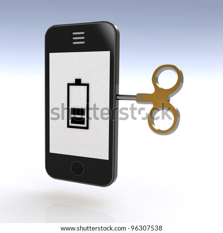 smartphone charged with a key, 3d illustration