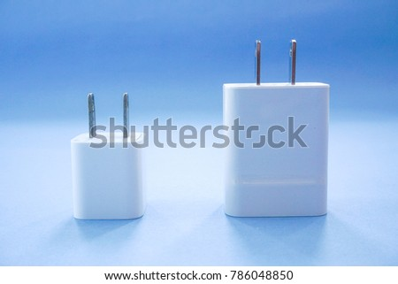 Smartphone Chargers Two Sizes on Blue Background #786048850
